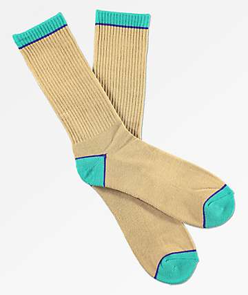 Zine Pair Tan & Mint Crew Socks
