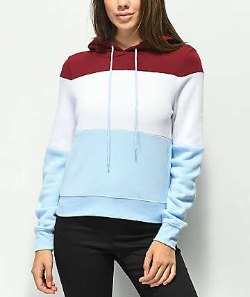 Zine Paxton Burgundy, White & Blue Colorblock Hoodie