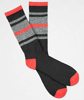 Zine Phantom Black, Red & Grey Crew Socks