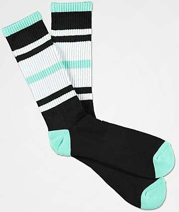 Zine Phantom Black & Mint Crew Socks
