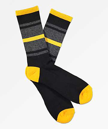 Zine Phantom Gold, Black & Heather Black Extended Crew Socks