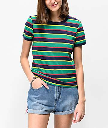 Zine Phinney Green, Red & Yellow Stripe Ringer T-Shirt