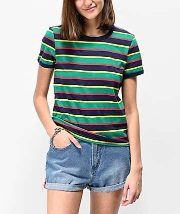 Zine Phinney Green, Red & Yellow Stripe Ringer T-Shirt