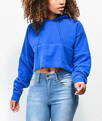 Zine Phoenix Blue Crop Hoodie