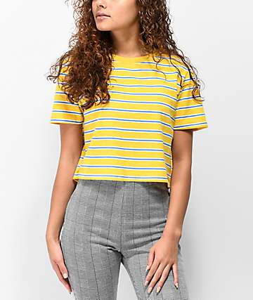 Zine Quinn Crop Yellow Stripe T-Shirt