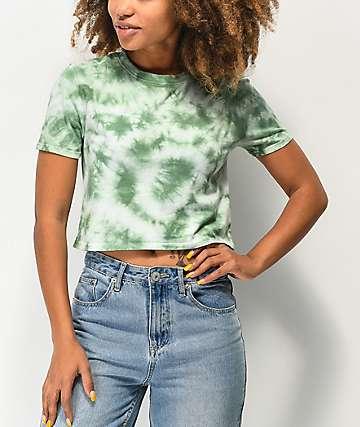 Zine Quinn Green Tie Dye Crop T-Shirt