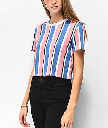 Zine Quinn Multicolor Vertical Stripe Crop T-Shirt