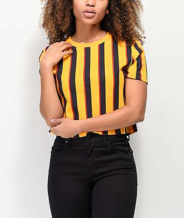 Zine Quinn Orange Vertical Striped Crop T-Shirt