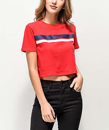 Zine Quinn Red, Blue & White Striped Crop T-Shirt