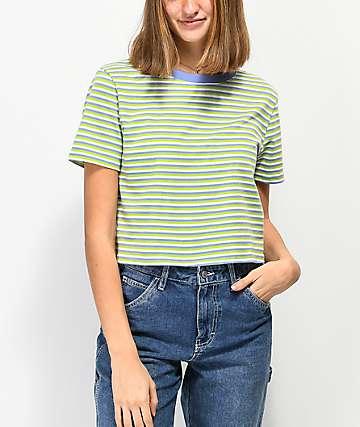 Zine Quinn camiseta corta verde y blanca de rayas