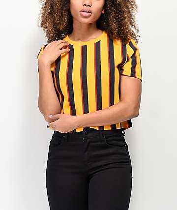 Zine Quinn camiseta naranja de rayas verticales