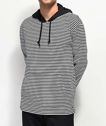 Zine Rafi Black and White Striped Hoodie