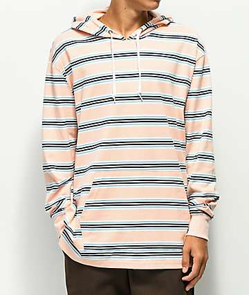 Zine Rafi Striped Peach, Blue & White Hoodie
