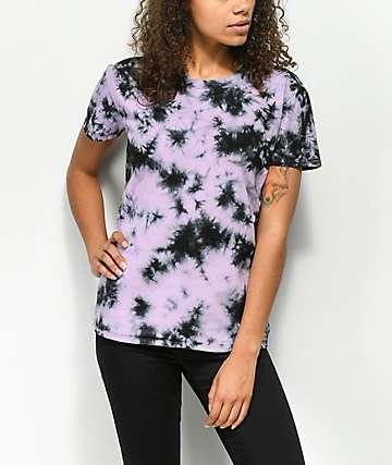 Zine Rayna camiseta violeta y negra con efecto tie dye