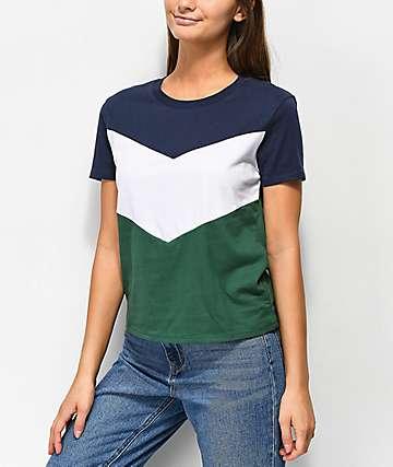 Zine Rayney camiseta verde, azul y blanca