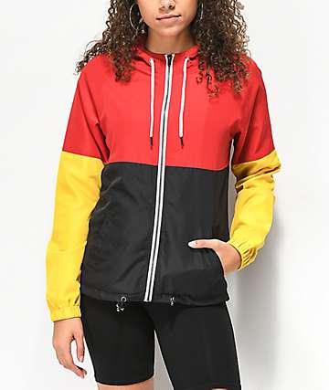 Zine Reajan chaqueta cortavientos roja, amarilla y negra