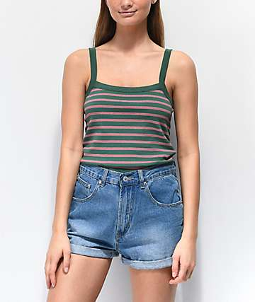 Zine Rocky Striped Green & Red Tank Top