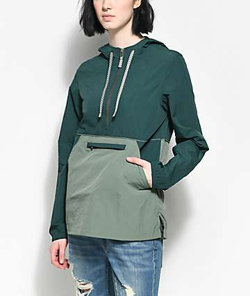 Zine Sabra Dark Sage Jacquard Windbreaker Jacket