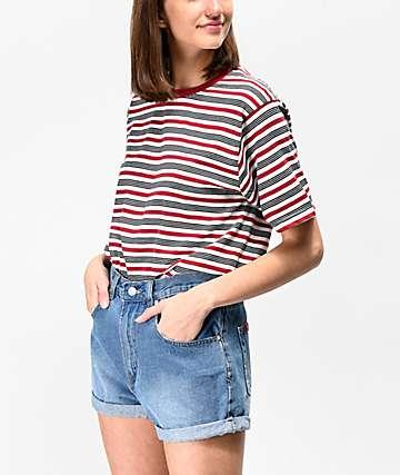 Zine Sandler camiseta sobredimensionada roja y negra de rayas