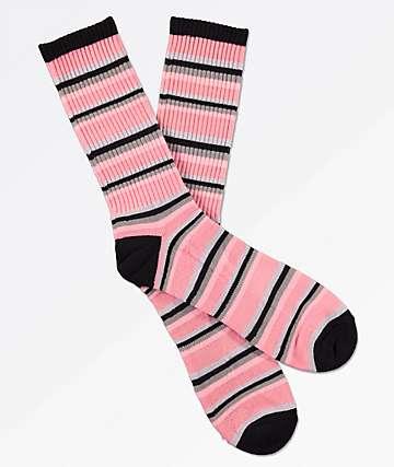 Zine Sea Pink Stripe Crew Socks