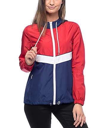 Zine Shalia Red, White & Navy Windbreaker Jacket