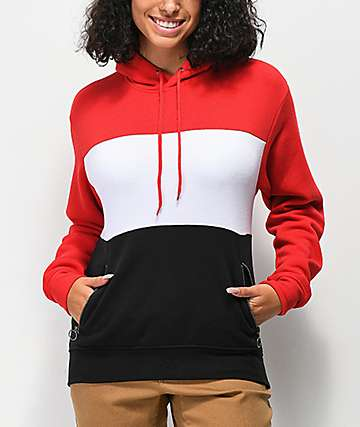 Zine Shenae Red, White & Black Colorbock Hoodie