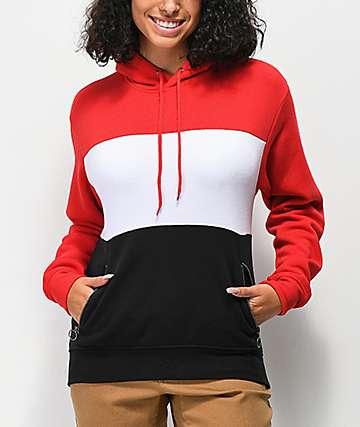 Zine Shenae sudadera con capucha roja, blanca y negra