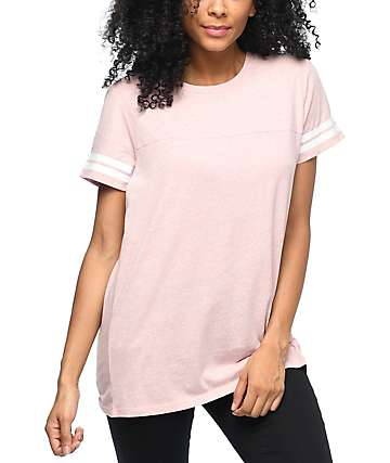 Zine Sherman Light Pink Athletic Stripe T-Shirt