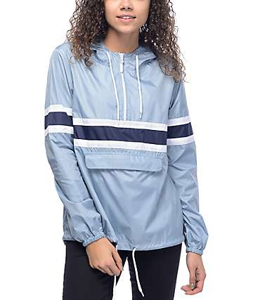 Zine Shiloh Light Blue, White, & Navy Packable Windbreaker