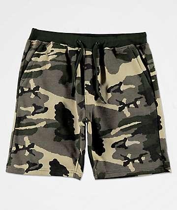 Zine Silas Athletic Green Camo Sweat Shorts