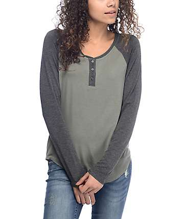 Zine Siri Olive & Grey Henley Long Sleeve T-Shirt