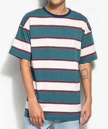 Zine Slouch Teal Multi Stripe T-Shirt