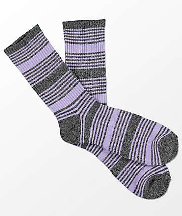 Zine Snub Light Heather Grey & Lavender Crew Socks