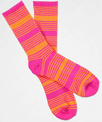 Zine Snub Pink Glow & Clown Fish Crew Socks
