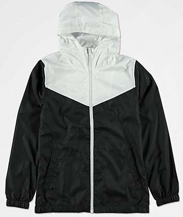 Zine Sprint chaqueta cortavientos blanca y negra para niños