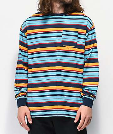 Zine Stagger Blue & Yellow Striped Long Sleeve T-Shirt