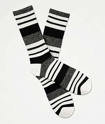 Zine Street Black, Grey & White Crew Socks