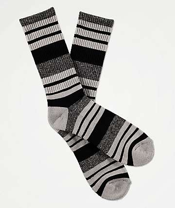 Zine Street Black & Marled Grey Crew Socks