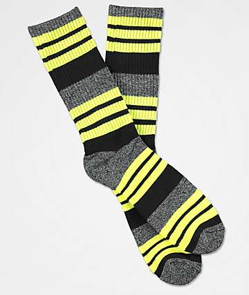 Zine Street Marled Yarn Yellow Crew Socks