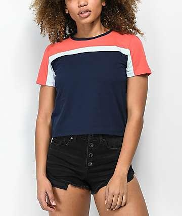 Zine Summer camiseta en azul marino y coral