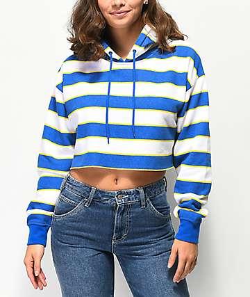 Zine Tariana Blue & Gold Stripe Crop Hoodie