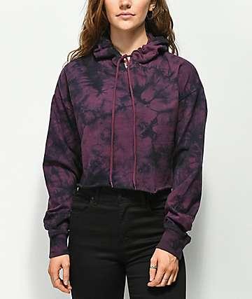 Zine Tariana Burgundy & Black Tie Dye Crop Hoodie