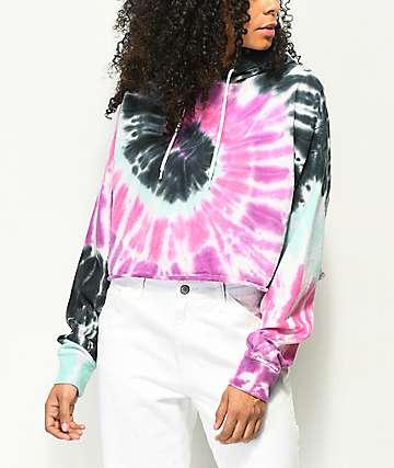 Zine Tariana Purple, Pink & Blue Tie Dye Crop Hoodie