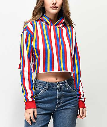 Zine Tariana Red, White & Blue Stripe Crop Hoodie