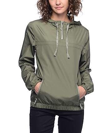 Zine Tasha chaqueta cortavientos tribal en color olivo