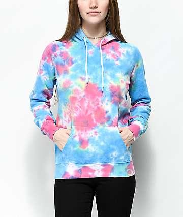 Zine Tera Blue & Pink Tie Dye Hoodie