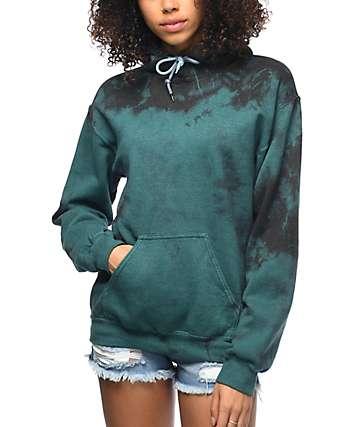 Zine Tera Green & Black Tie Dye Hoodie