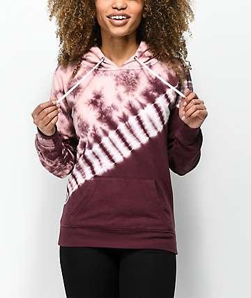 Zine Tera Pink & Burgundy Tie Dye Hoodie