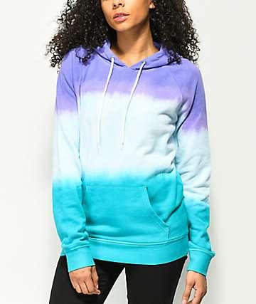 Zine Tera Purple & Turquoise Tie Dye Hoodie
