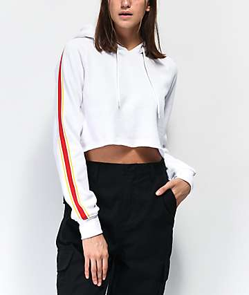 Zine Tera White, Red & Yellow Taped Crop Hoodie